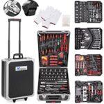 Tectake 401321  set de herramientas, en maletín carrito portaherramientas de aluminio, 799 piezas